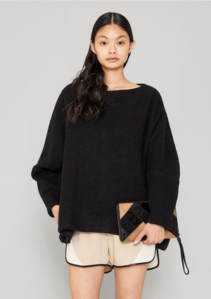 SWEATER POCKETS - WOOL BLEND black - BERENIK