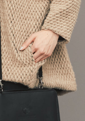 SWEATER POCKETS - WOOL BLEND RHOMB KNIT beige - BERENIK
