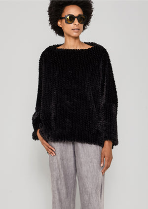 SWEATER POCKETS - FAUX RHOMB FUR black