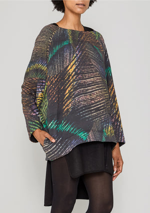 SWEATER POCKETS - COTTON JERSEY printed peacock