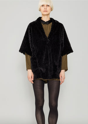 SHIRT V-COLLAR - SOFT FAUX RHOMB FUR black