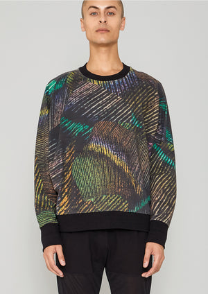 SWEATER OVERSIZED - COTTON JERSEY printed peacock
