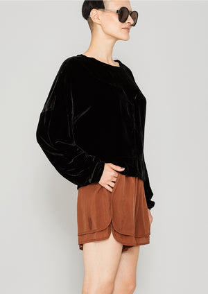 SWEATER PATCHWORK - SILK VELVET black