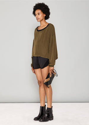 SHIRT LONG SLEEVES - SILKY CUPRO khaki