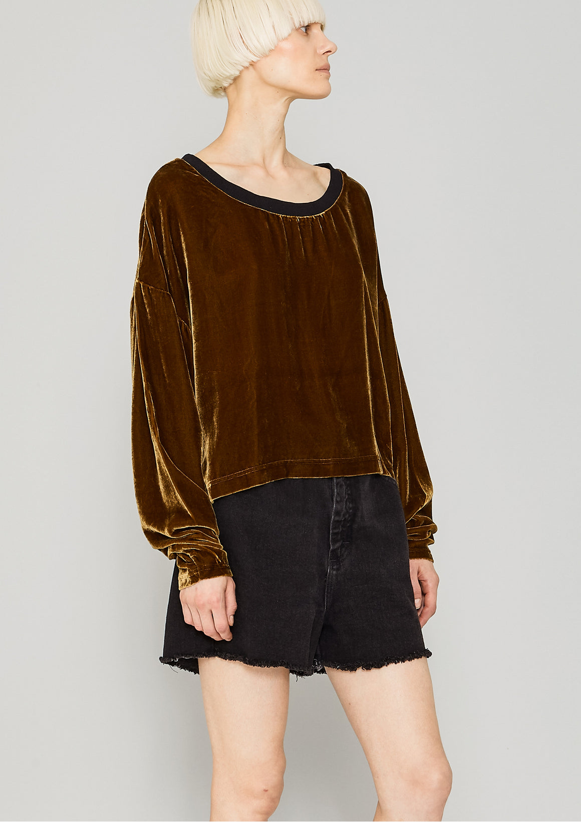 SHIRT LONG SLEEVES - SILK VELVET gold
