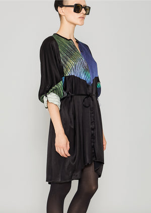 BLOUSE/DRESS - SILKY CUPRO printed peacock