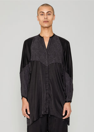 BLOUSE/DRESS - SILKY RAYON SATIN / SNAKE JACQUARD black