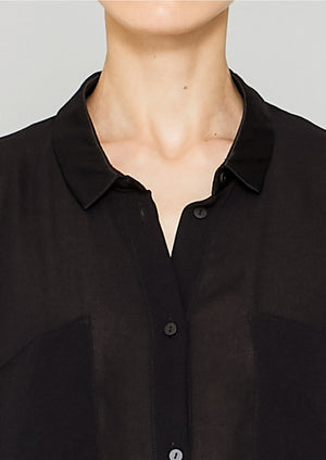 BLOUSE COLLAR - VINTAGE GEORGETTE black