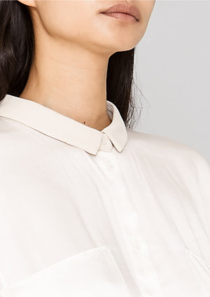 BLOUSE COLLAR - SILKY RAYON SATIN white shiny