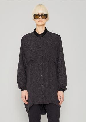 BLOUSE COLLAR - JACQUARD SATIN black snake