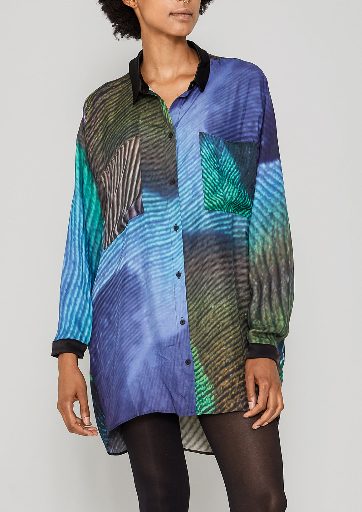 BLOUSE COLLAR - SILKY CUPRO printed peacock