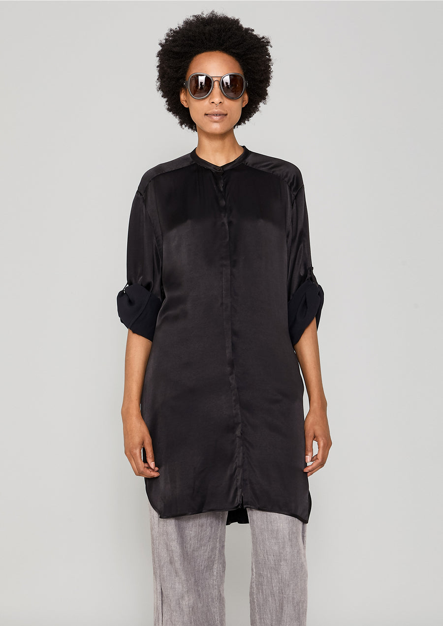 BLOUSE LONG - SILKY RAYON SATIN black