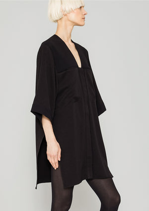 BLOUSE - POCKETS V-COLLAR - HEAVY DRAPING black