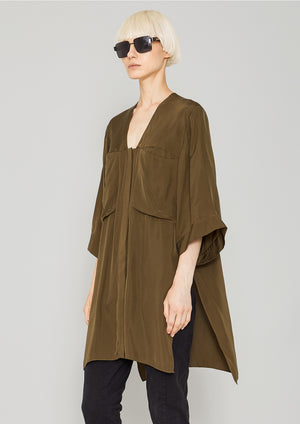 BLOUSE - POCKETS V-COLLAR - SILKY CUPRO khaki
