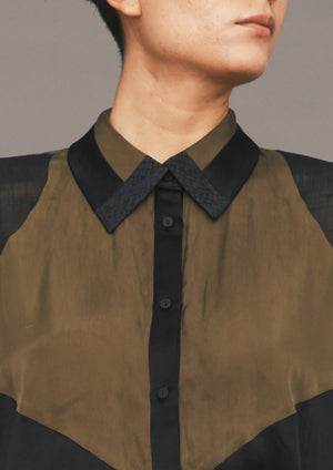SHIRT PATCHWORK - khaki/black/snake