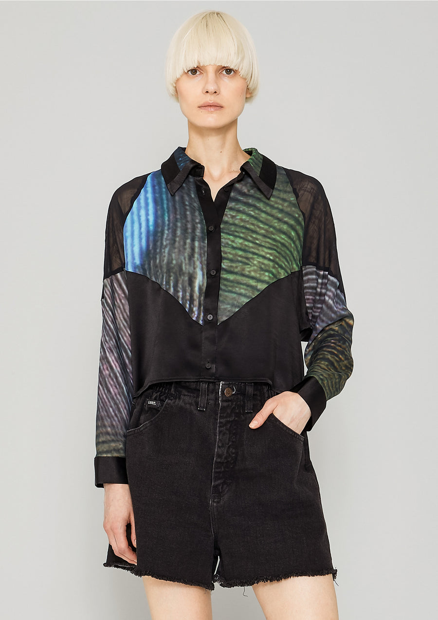 SHIRT PATCHWORK - print peacock/black