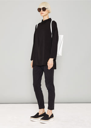SHIRT COLLAR ZIP - HEAVY DRAPING black