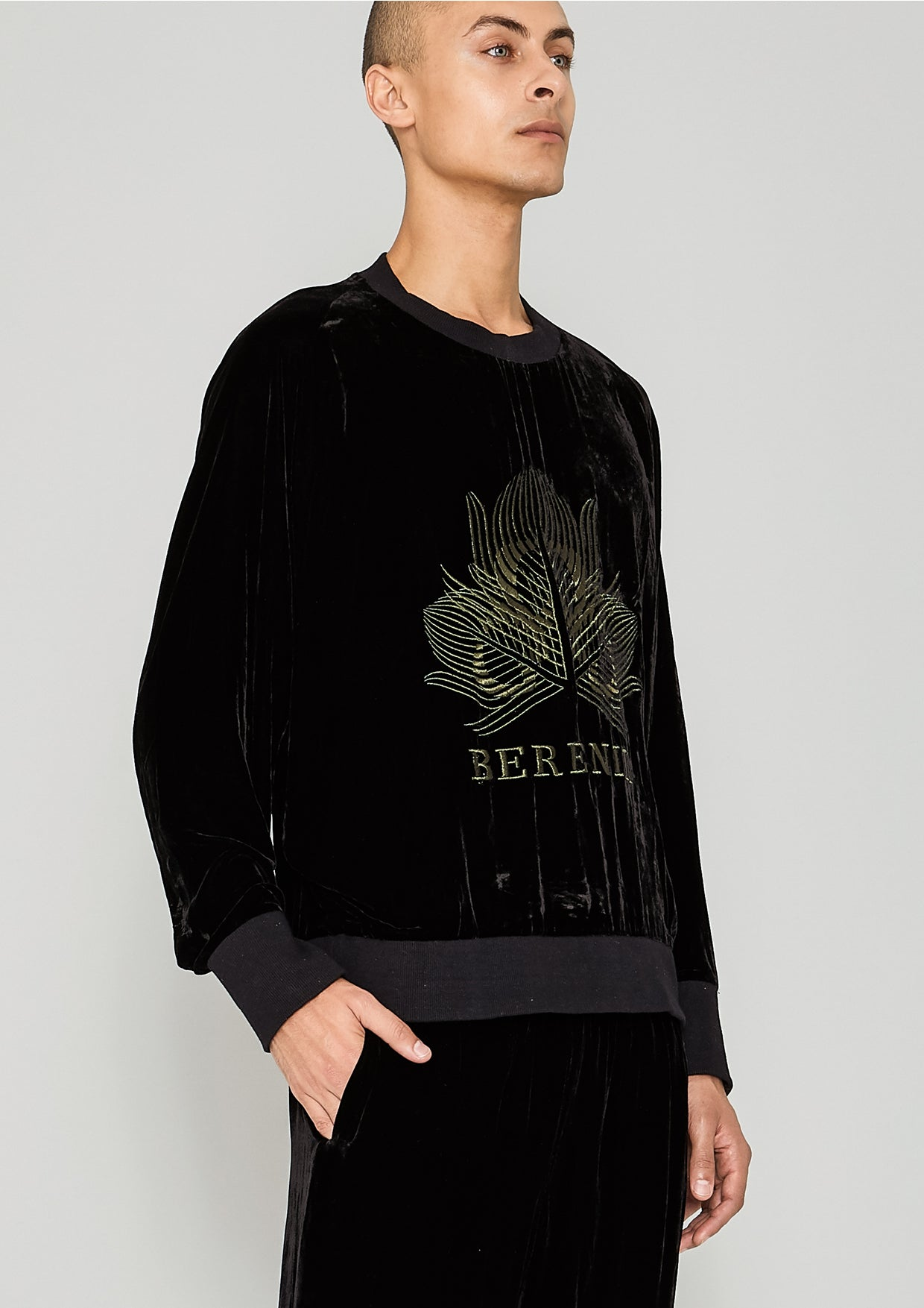 fe6250326a OVERSIZED SWEATER - SILK VELVET black with golden BERENIK embroidery