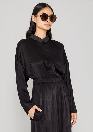 SHIRT COLLAR ZIP - SILKY RAYON SATIN black