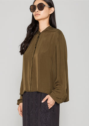 BLOUSE LONG SLEEVES - SILKY CUPRO khaki