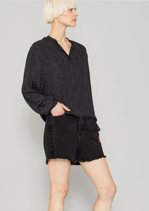 BLOUSE LONG SLEEVES - JACQUARD SATIN black snake