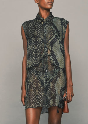 BLOUSE SLEEVELESS - SILK MOUSSELINE - PRINTED snake black/brown