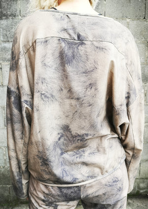 LIMITED EDITION - SWEATER COZY WITH POCKETS - FLUFFY COTTON JERSEY printed sheep - BERENIK