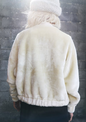 LIMITED EDITION - PILOT JACKET - FAUX FUR white