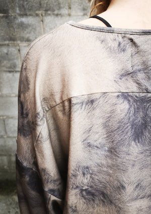 LIMITED EDITION - SWEATER COZY WITH POCKETS - FLUFFY COTTON JERSEY printed sheep