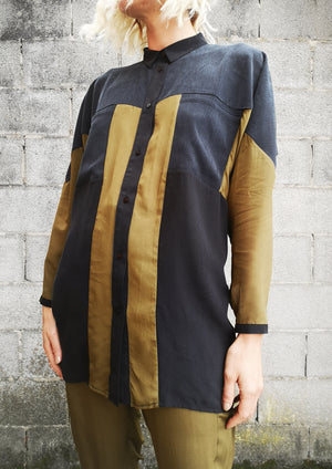 LIMITED EDITION - BLOUSE PATCHWORK POCKETS - CUPRO khaki/black/grey