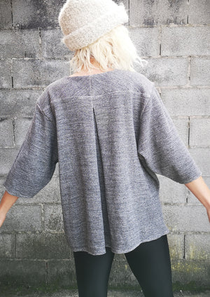 LIMITED EDITION - WINTER SHIRT WIDE SLEEVES - COTTON grey mottled