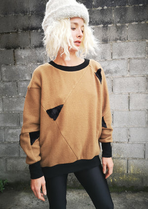 LIMITED EDITION - SWEATER PATCHWORK - COTTON camel/black - BERENIK