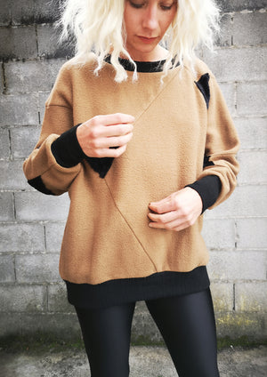 LIMITED EDITION - SWEATER PATCHWORK - COTTON camel/black
