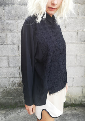 LIMITED EDITION - WINTER BLOUSE - SHAGGY black & SILK
