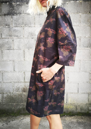 LIMITED EDITION - WINTER DRESS - PRINTED CORD burgundy/colors - BERENIK