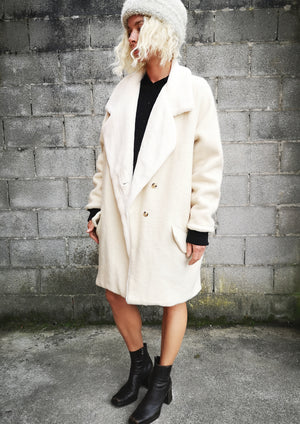 LIMITED EDITION - WINTER COAT WOOL/FAUX FUR - ivory - BERENIK