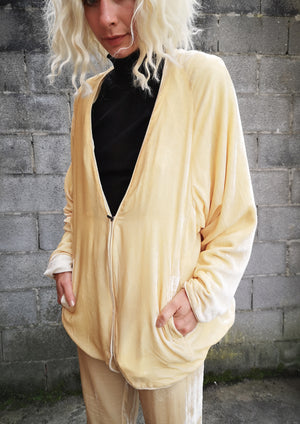 LIMITED EDITION - CARDIGAN WITH ZIP - SILK VELVET ivory
