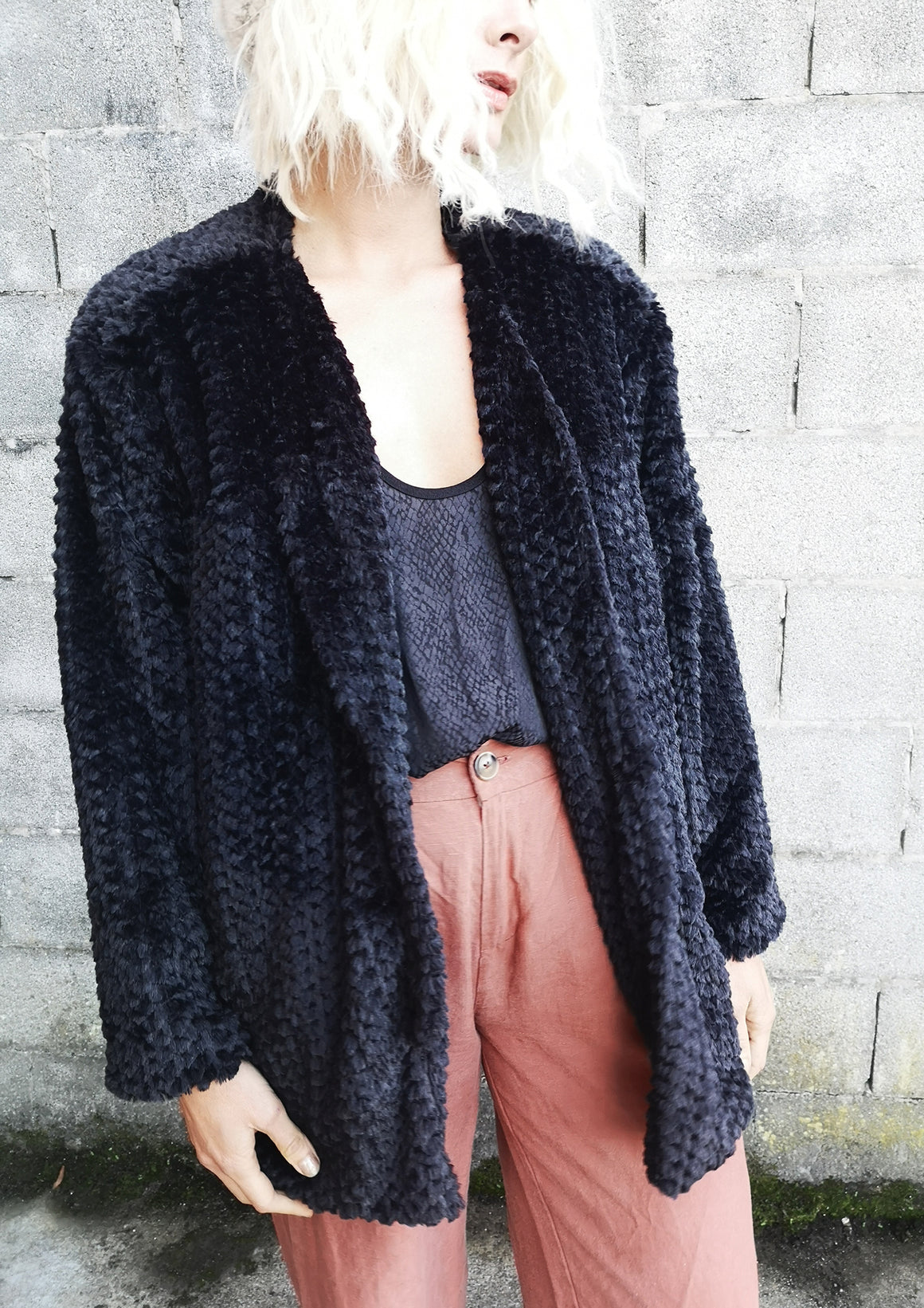 CARDIGAN - FAUX FUR black