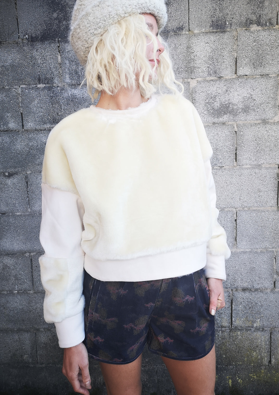 SWEATER PATCHWORK FAUX FUR - white/ivory/creme