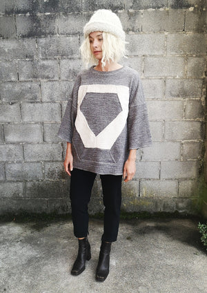 LIMITED EDITION - T-SHIRT OVERSIZED PATCHWORK - COTTON grey