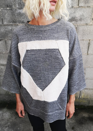 LIMITED EDITION - T-SHIRT OVERSIZED PATCHWORK - COTTON grey - BERENIK