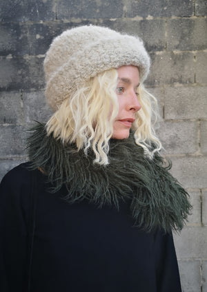 SCARF - FAUX FUR SHAGGY dark green