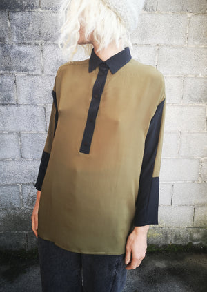 LIMITED EDITION - BLOUSE PATCHWORK SLIM - SILK khaki - BERENIK