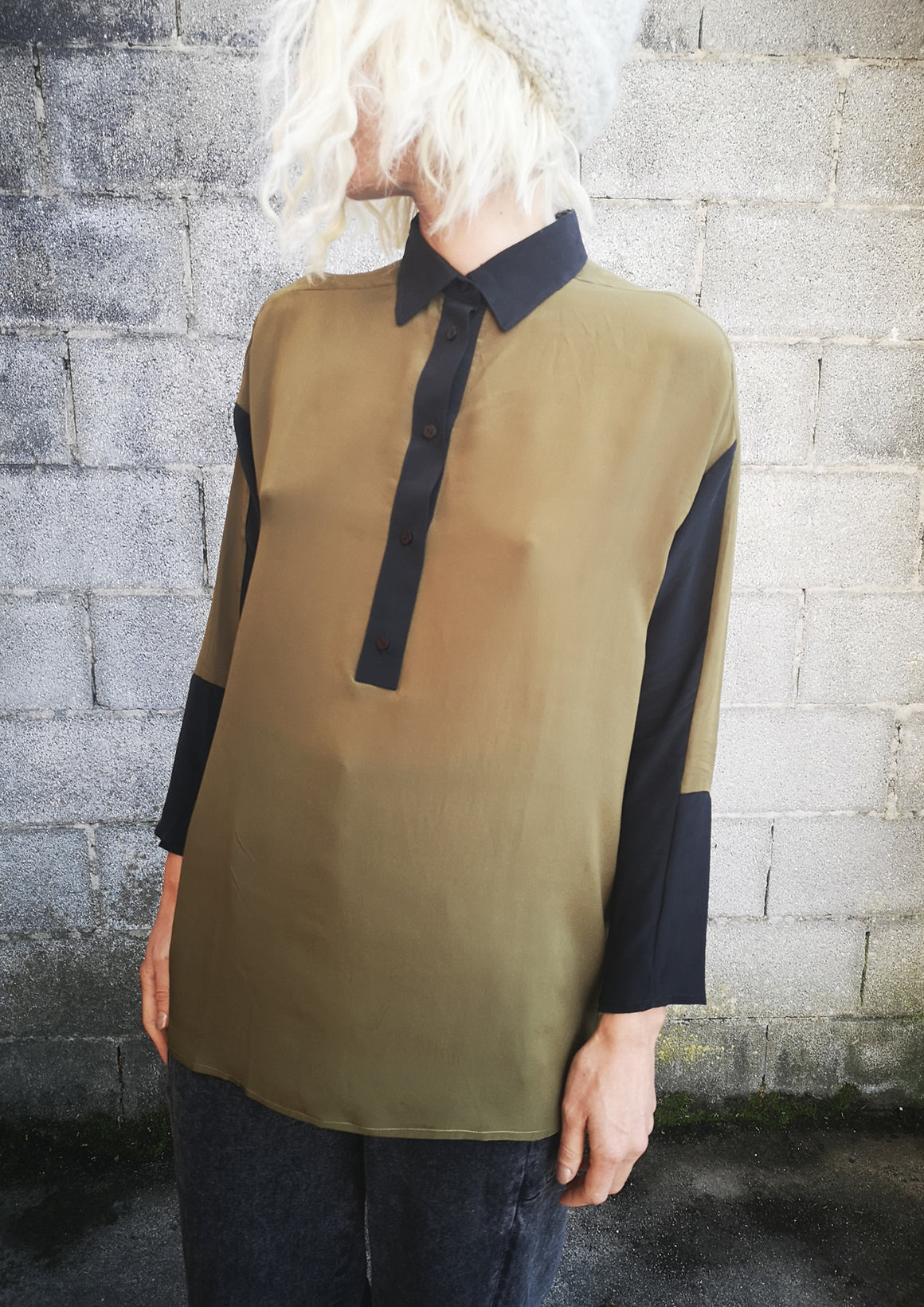 LIMITED EDITION - BLOUSE PATCHWORK SLIM - SILK khaki