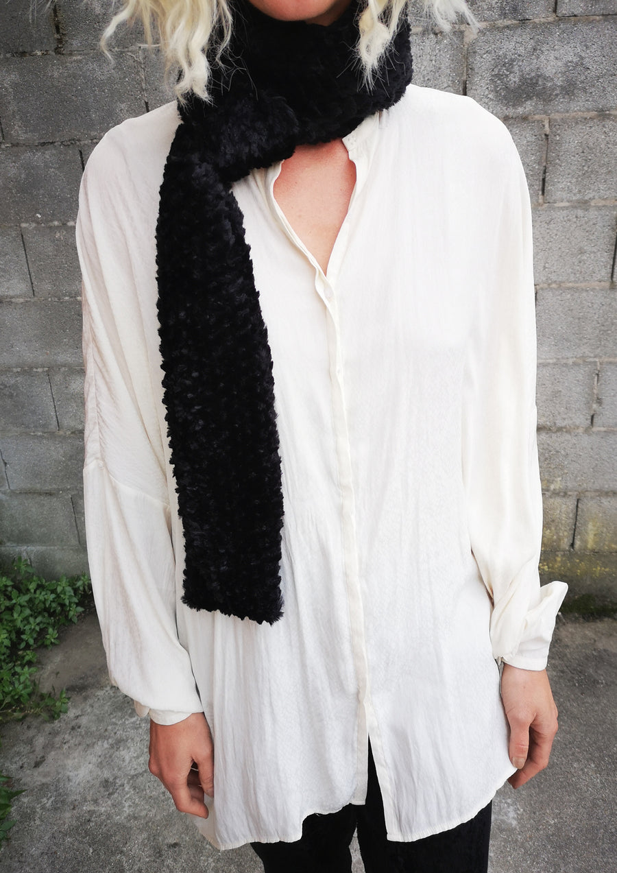 LIMITED EDITION - BLOUSE OVERSIZED - SATIN JACQUARD white snake
