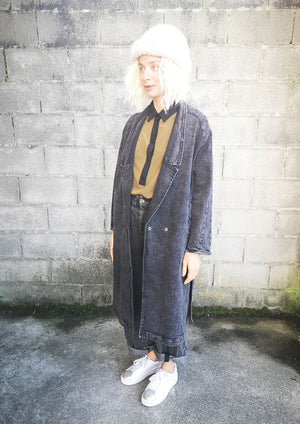 COAT LONG REVERS - DENIM washed black