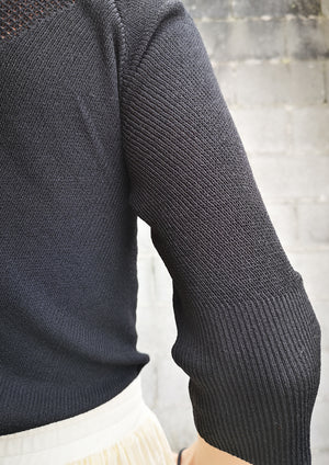 WINTER SHIRT TURTLENECK STRETCH - KNIT TRANSPARENT black