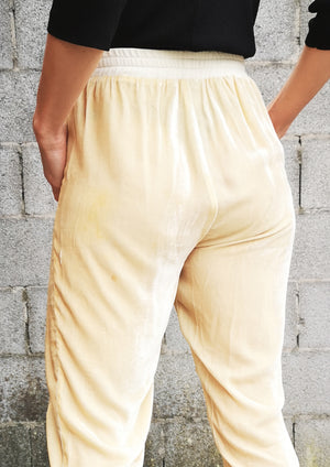 LIMITED EDITION - PANTS LOOSE - SILK VELVET ivory - BERENIK