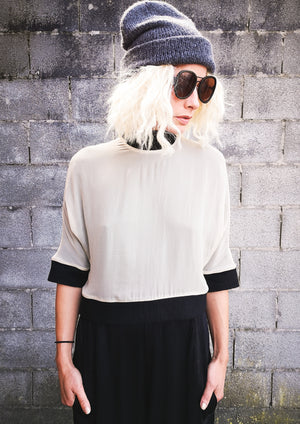 LIMITED EDITION - SHIRT TURTLENECK DOUBLE LAYER - SILK ivory