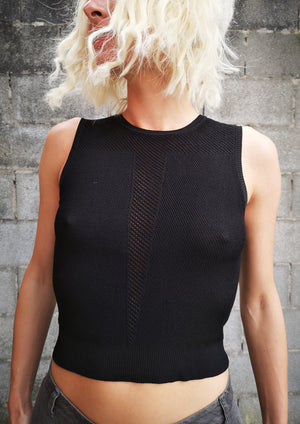 SHIRT SLEEVELESS STRETCH - KNIT black